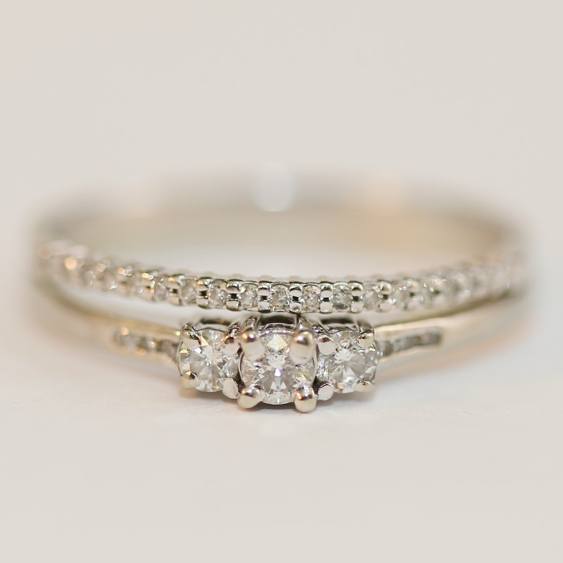 14K White Gold Round Brilliant Diamond Wedding Ring Set Size 12.75