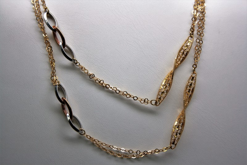 "26"" FASHION NECKLACE 18K TRI COLOR GOLD"