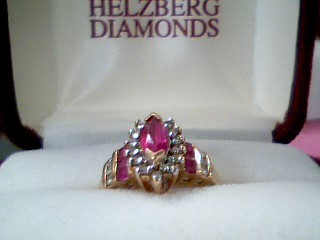 Synthetic Ruby Lady's Stone & Diamond Ring 20 Diamonds .40 Carat T.W.