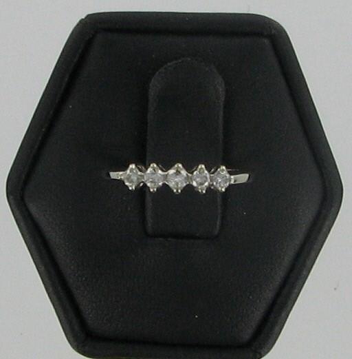 Lady's Gold-Diamond Anniversary Ring 5 Diamonds .10 Carat T.W. 14K White Gold