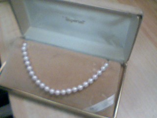 Synthetic Pearl Stone Necklace 14K Yellow Gold 0.02g