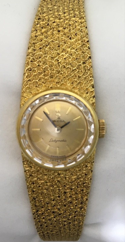 "VINTAGE OMEGA LADYMATIC WATCH 18 KT YELLOW GOLD CASE AND 7.5"" BRACELET 7133"