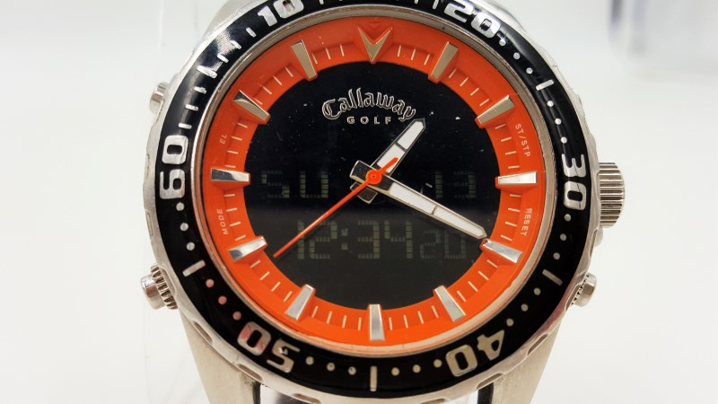 Callaway Men's Golf Orange & Brown Watch As-Is Quartz Analog Digial