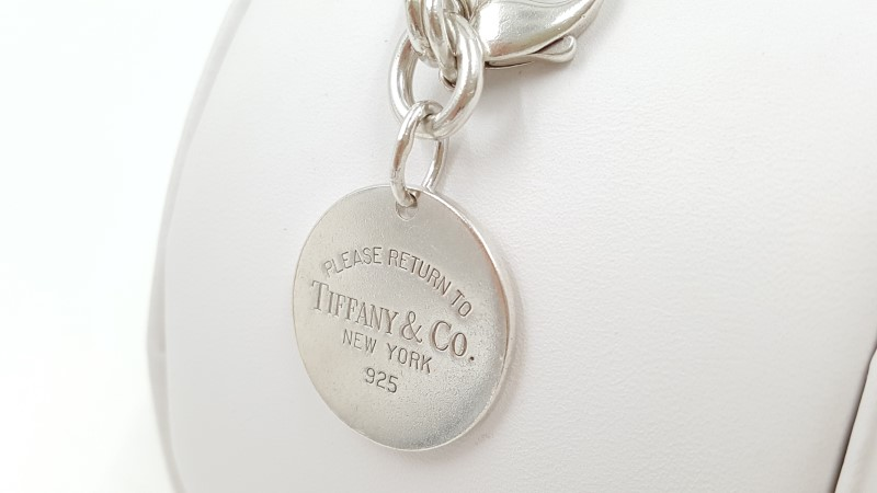 Please Return To Tiffany Silver Circle Tag Round Charm Bracelet 7""
