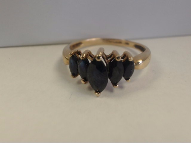 Sapphire Lady's Stone Ring 10K Yellow Gold 2.2g Size:8