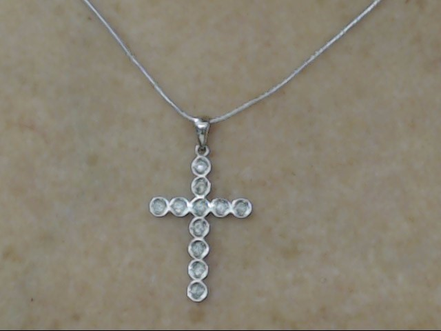 VINTAGE DIAMOND CROSS PENDANT CHARM SOLID REAL 10K WHITE GOLD JESUS