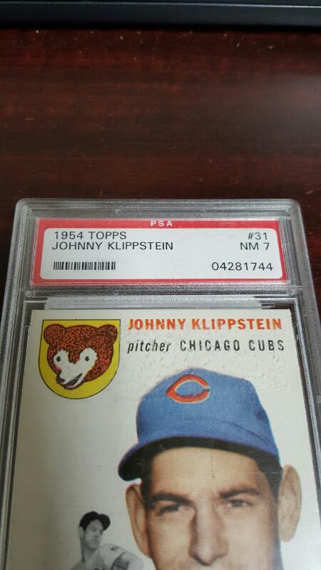 1954 Topps #31 Johnny Klippstein PSA 7 NM Chicago Cubs