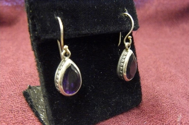 Synthetic Amethyst Silver-Stone Earrings 925 Silver 3.3dwt
