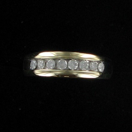 Gent's Gold-Diamond Wedding Band 8 Diamonds .80 Carat T.W. 14K Yellow Gold