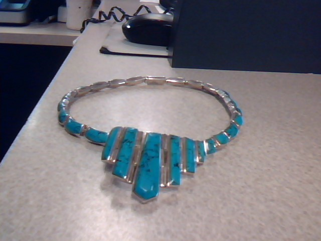 Turquoise Stone Necklace 925 Silver 76.37g