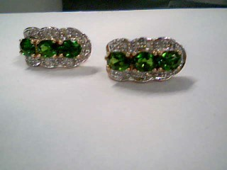 Synthetic Peridot Gold-Diamond & Stone Earrings 30 Diamonds .60 Carat T.W.