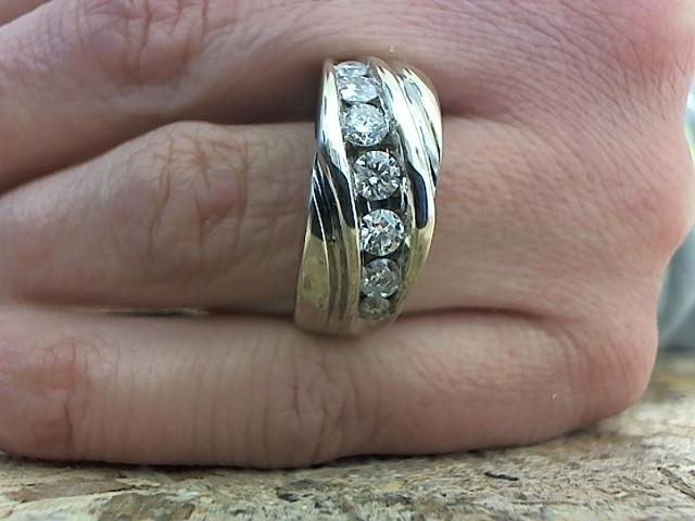 Gent's Diamond Fashion Ring 7 Diamonds .85 Carat T.W. 14K White Gold 7.4g