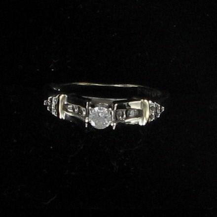 Lady's Diamond Engagement Ring 11 Diamonds .38 Carat T.W. 14K White Gold 2.7dwt