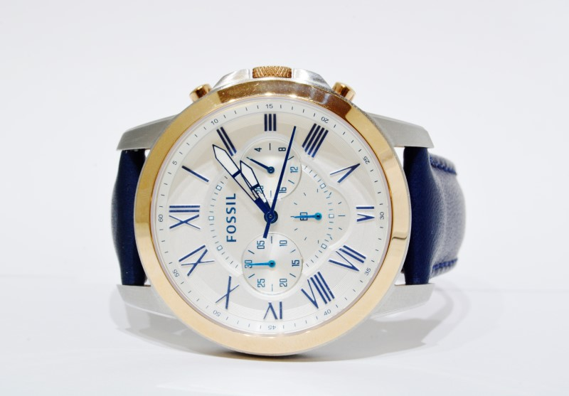 Fossil FS4930 Grant Chronograph White Dial Blue Leather Quartz Rose Gold Watch
