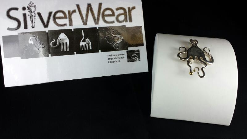 Designer Michael Kelch Octopus Fork Pendant 925 Silver