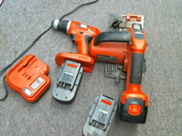 BLACK&DECKER DRILL/SAW COMBO 20V with charger, 3 batteries, and bag