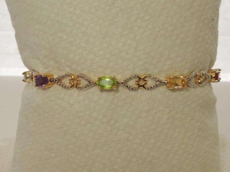Synthetic Aquamarine Silver-Stone Bracelet 925 Silver 8g