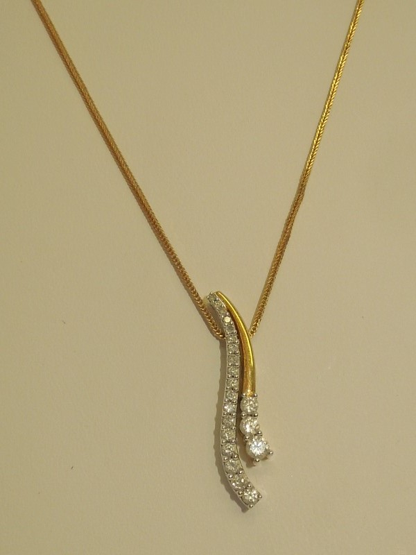 Diamond Necklace 21 Diamonds .62 Carat T.W. 14K 2 Tone Gold 4.4g