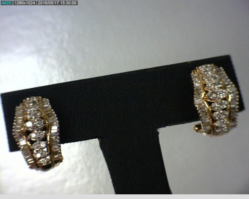 Gold-Diamond Earrings 106 Diamonds 1.84 Carat T.W. 10K Yellow Gold 4.06dwt
