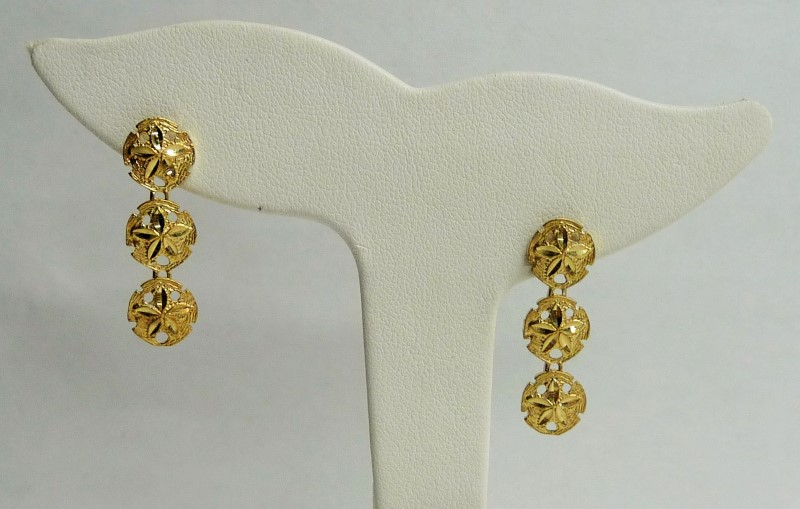 Gold Earrings 14K Yellow Gold 1.65dwt
