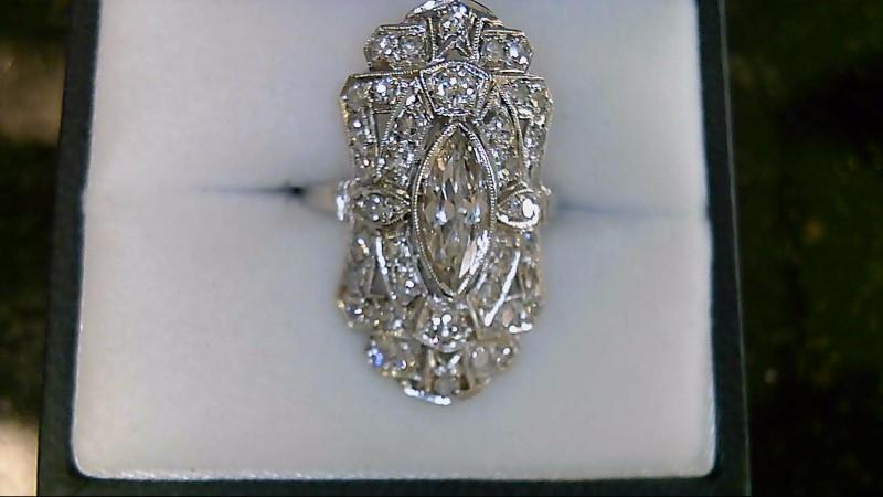Lady's Platinum Diamond Cluster 42 Diamonds 1.87 Carat T.W. 950 Platinum 5.62g