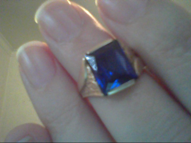 Blue Stone Gent's Stone Ring 10K Yellow Gold 3.6g