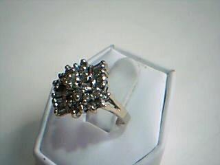 Gent's Diamond Cluster Ring 32 Diamonds .74 Carat T.W. 10K White Gold 4.7g