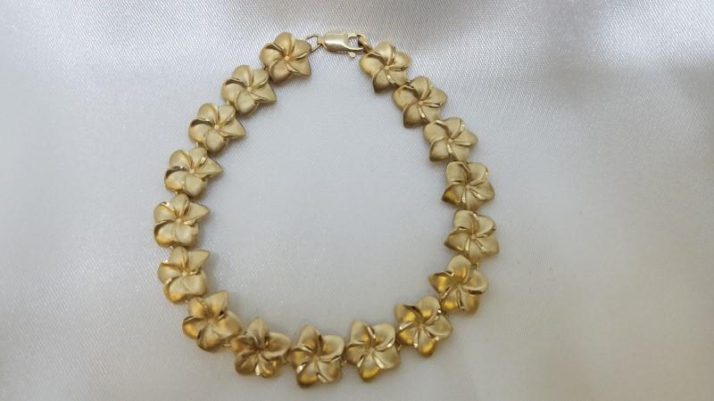 """Plumeria Gold Flower Bracelet 14K Yellow Gold 7"""""""