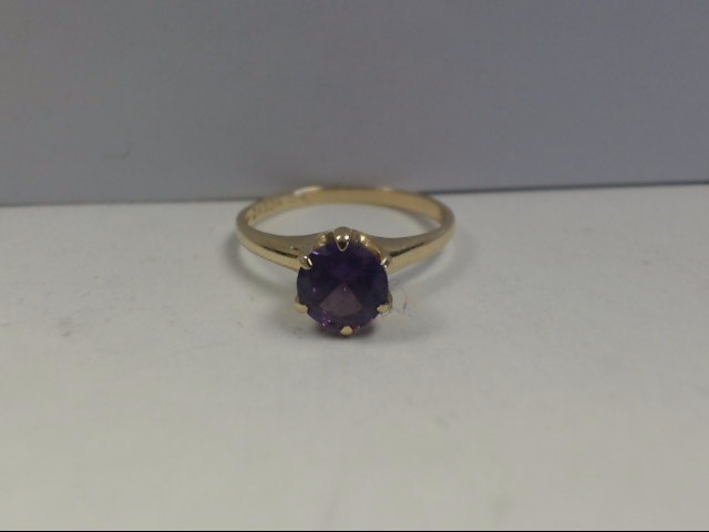Amethyst Lady's Stone Ring 10K Yellow Gold 1.77g