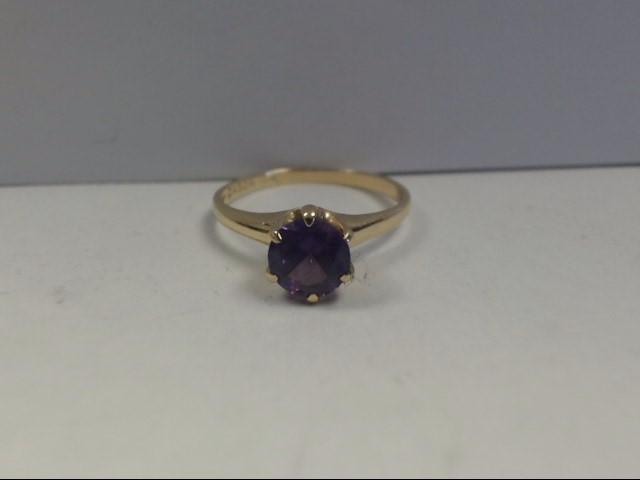 Amethyst Lady's Stone Ring 10K Yellow Gold 1.77g
