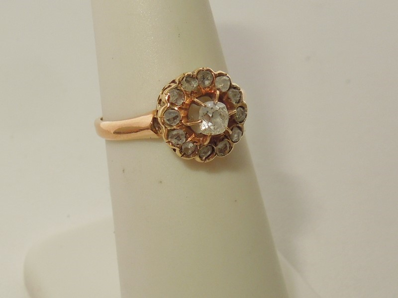 Lady's Diamond Fashion Ring 13 Diamonds .22 Carat T.W. 10K Yellow Gold 2.3g