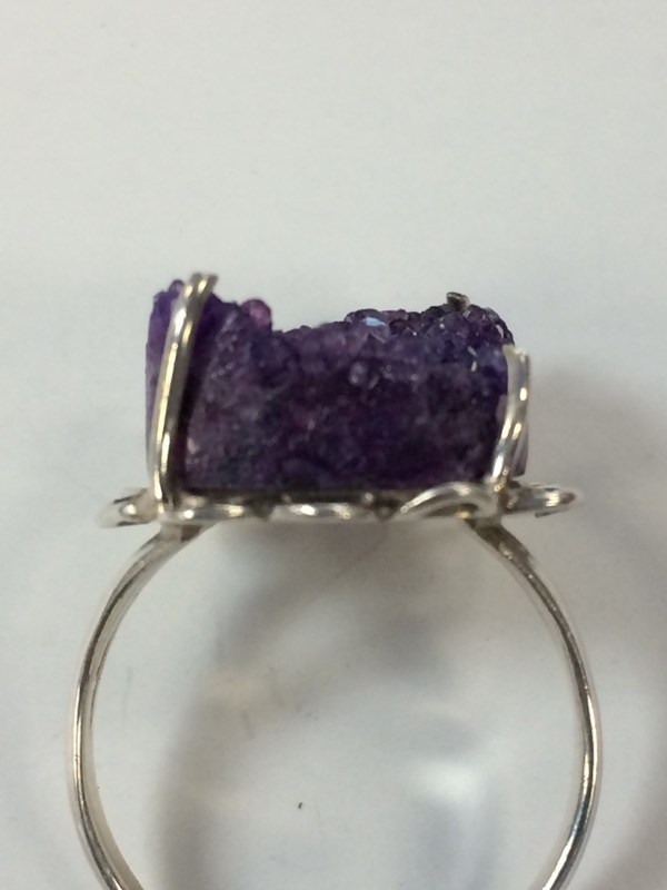 Synthetic Amethyst Lady's Silver & Stone Ring 925 Silver 5.3g