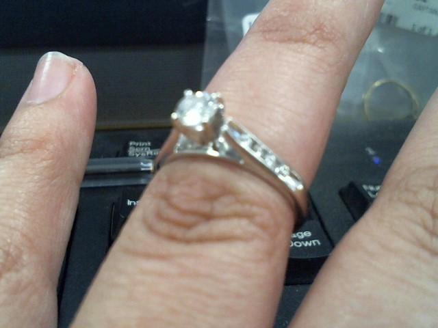 Lady's Diamond Engagement Ring 9 Diamonds .56 Carat T.W. 14K White Gold 3.3g