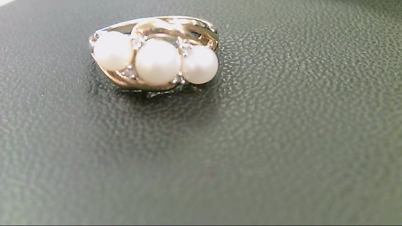 Synthetic Pearl Lady's Stone Ring 10K Yellow Gold 3.2g