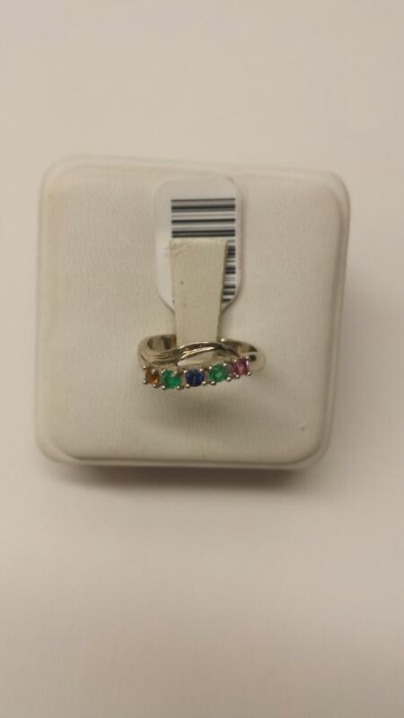 Orange Stone Lady's Stone Ring 10K White Gold 1.6dwt Size:5