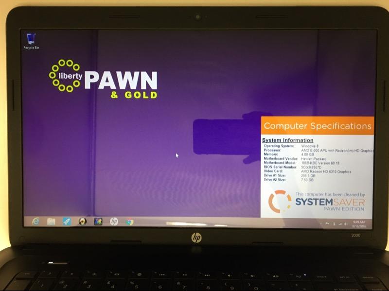 HP 2000-2D19WM (AMD E-300 1.3 GHZ, 4 GB HD, 320 GB HD, WIN 8)
