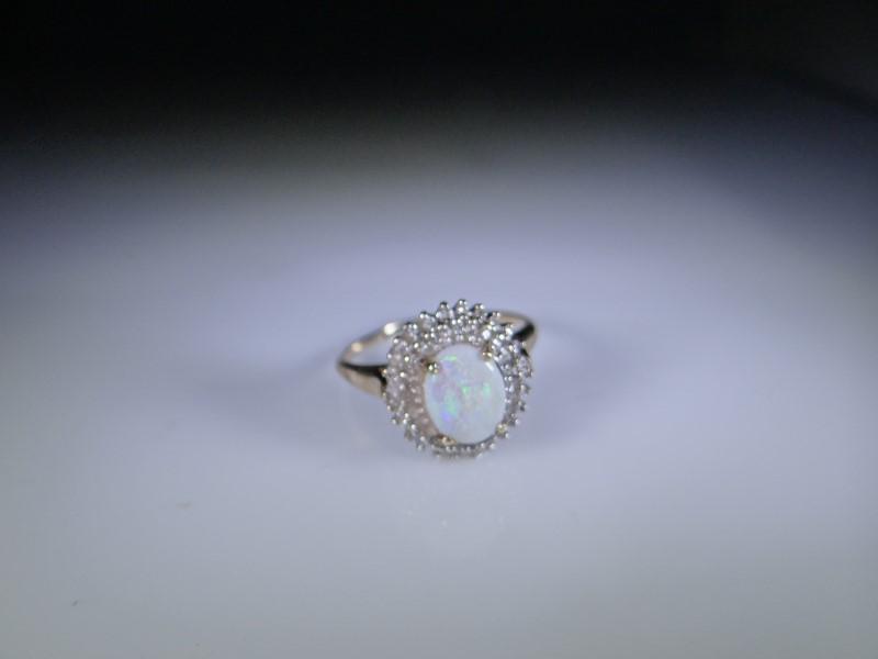 Synthetic Opal Lady's Stone & Diamond Ring 51 Diamonds .51 Carat T.W.