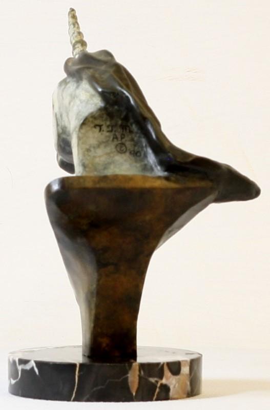 BRONZE UNICORN (HEAD) WITH PATINA - COPYRIGHT '90 BY T. J. M.