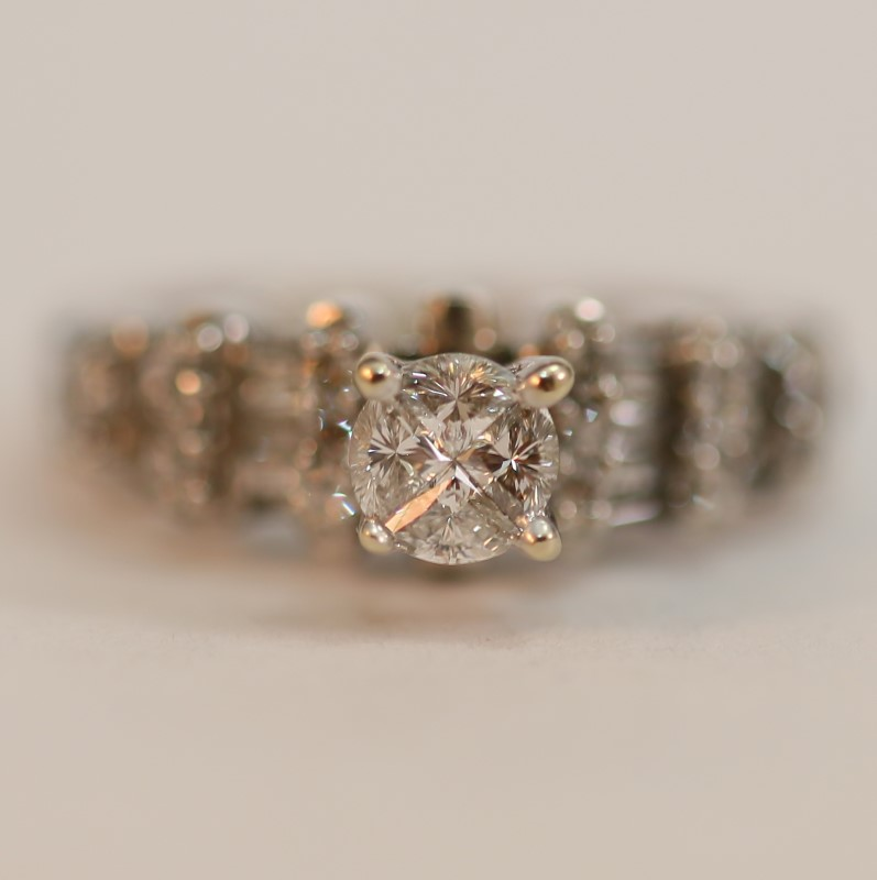 Vintage Inspired 14K White Gold Multi-Cut Diamond Ring Size 4.3