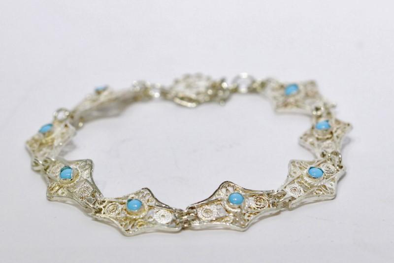 "6.5"" Sterling Silver Vintage Inspired Light Blue Turquoise Swirl Bracelet"
