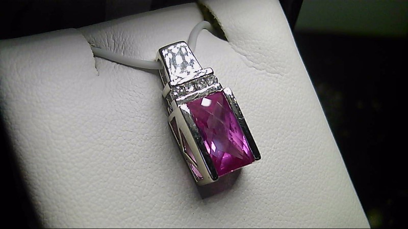 Pink Topaz Gold-Diamond & Stone Pendant 4 Diamonds .04 Carat T.W.