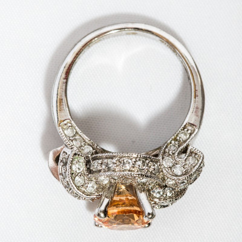 Orange Stone Lady's Silver & Stone Ring 925 Silver 7g