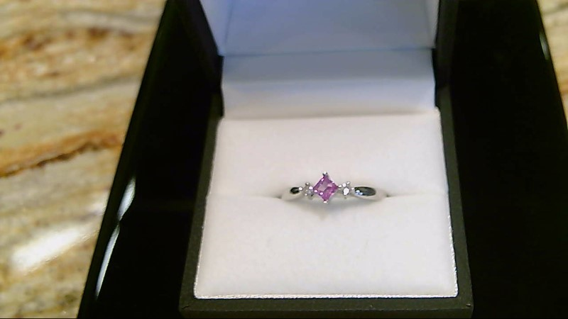 LADY'S 10K WHITE GOLD PRINCESS CUT PINK TOPAZ AND RD DIA RING