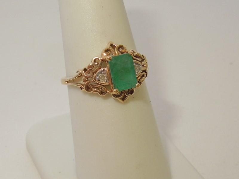 Synthetic Emerald Lady's Stone & Diamond Ring 2 Diamonds .02 Carat T.W.