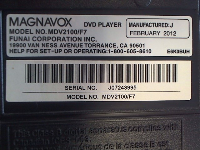 MAGNAVOX DVD Player MDV2100