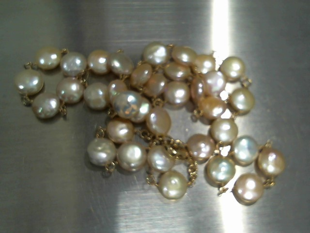 Pearl Stone Necklace 14K Yellow Gold 30.2g