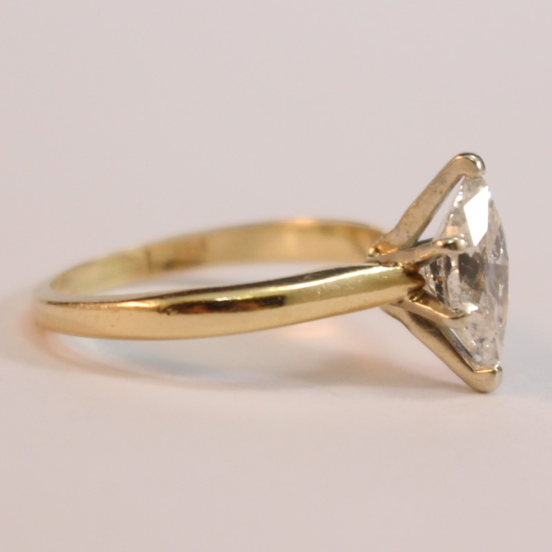 14K Yellow Gold Marquise Diamond Solitaire Ring Size 4.75