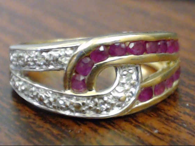 VINTAGE RUBY DIAMOND LOVE KNOT RING BAND SOLID 10K GOLD PROMISE SZ 6