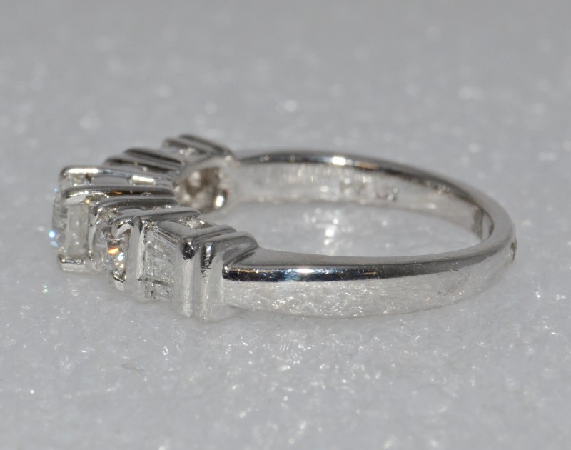 14K White Gold 3 Stone Diamond Engagement Ring w/ Baguette Accents Sz 7