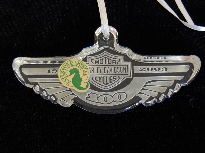 Harley Davidson 100th Anniversary Waterford Crystal Ornament 97968-03V